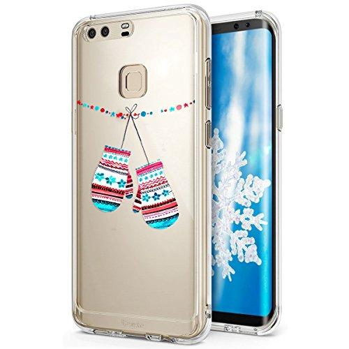 Kompatibel mit Huawei P9 Hülle Schutzhülle Silikon Transparent mit Weihnachten Schneeflocke Hirsch Muster Handyhülle Durchsichtige Backcover TPU Case Tasche Etui Bumper, Weihnachtsschnee Handschuhe