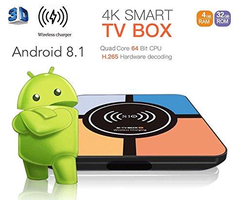 [Ultima versione] Ovegna S10: Smart TV Box Android 8.1 4K, 3D, 4 GB di RAM, 32 GB di ROM, 64 bit, USB 3.0, Wi-Fi, dotato di un caricabatterie universale compatibile con iPhone 8 / X e Samsung Galaxy