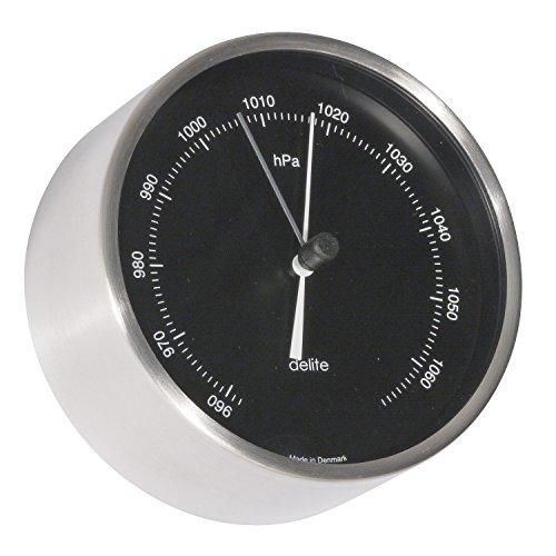 Clausen Barometer, Design Mogens, Gehäuse Edelstahl gebürstet, schwarzes Zifferblatt