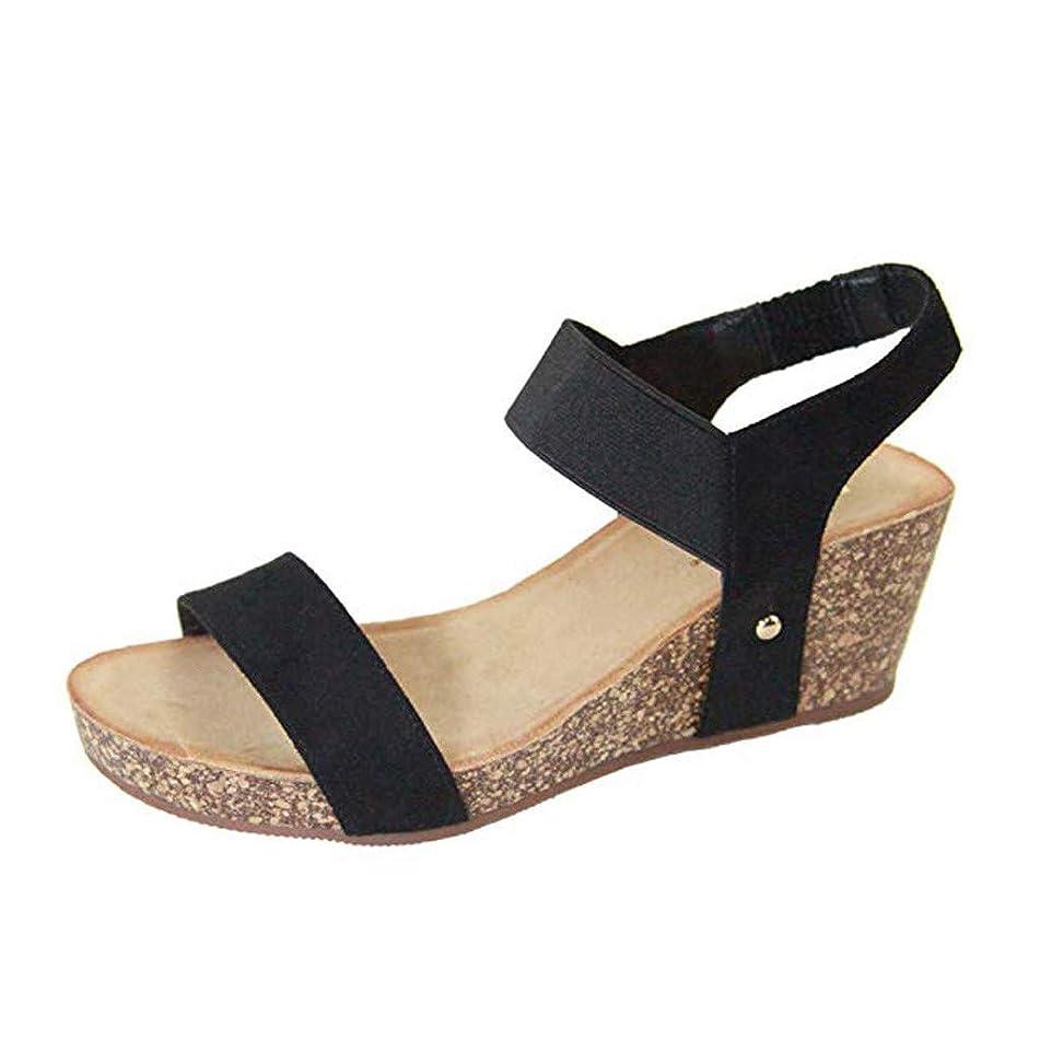 Veodhekai Womens High Heel Wedge Sandals Open Toe Ankle Elastic Band Roman Sandals Platform Wedges Sandals
