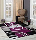 GLORY RUGS Area Rug Modern 5x7 Purple Soft Hand Carved Contemporary Floor Carpet with Premium Fluffy Texture for Indoor Living Dining Room and Bedroom Area