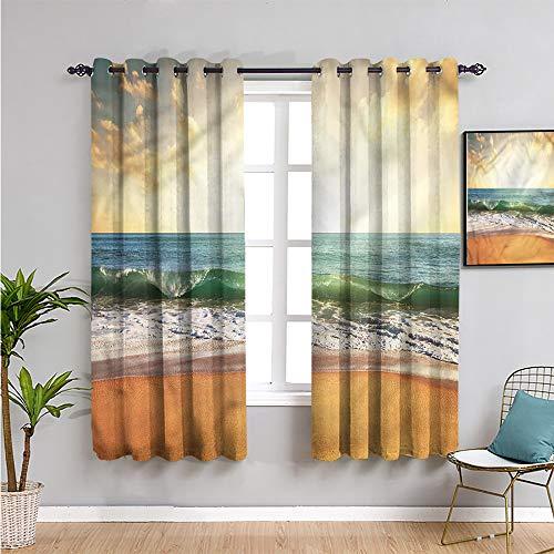 Ocean Black Out Cortina de ventana, cortinas de 160 cm de largo, playa de arena lisa al atardecer, protección de privacidad de 163 cm de ancho x 63 cm de largo
