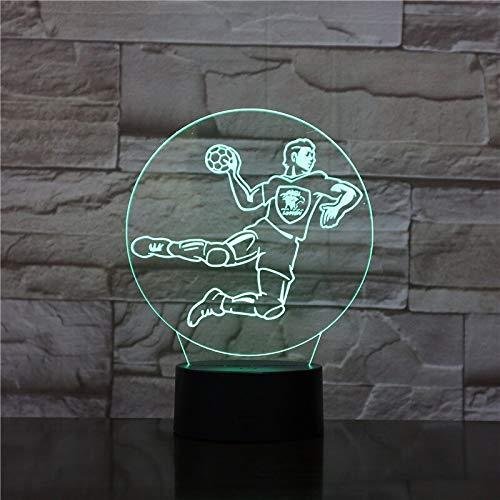 Jongens 3D LED Nachtlampje Handbalspeler Beweegbaar Pop Nachtlampje Kinderkamer Decoratie Verlichting Batterij-Aangedreven Kindernachtlampje 3D