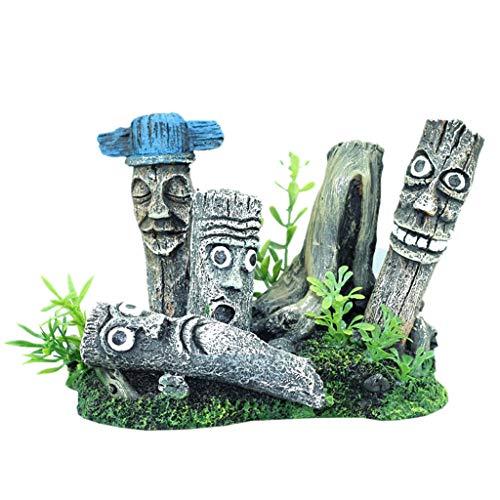 qingqingR Osterinsel Moai Porträt Aquarium Aquarium Landschaftsbau Dekoration Vintage