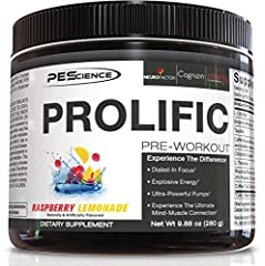 Prolific is the ultimate pre workout powder. Each tub contains 40 scoops, which provides up to 40 amazing workouts. Featuring 2 forms of caffeine and multiple energy optimizers for zero crash. Focus - Prolific features nootropic compounds like citico...