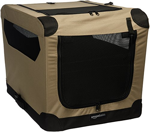 Amazon Basics Portable Folding Soft Dog Travel Crate Kennel, Small (18 x 18 x 26 Inches), Tan