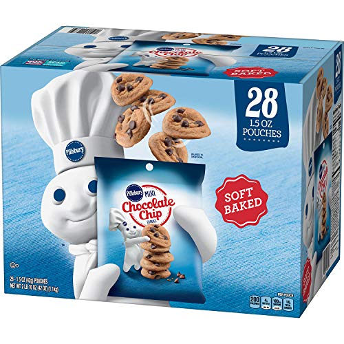 Pillsbury Soft Baked Mini Chocolate Chip Cookies, 1.5 Ounce (28 Pack)