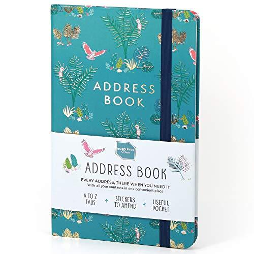 Boxclever Press Adressbuch mit Seitenreitern für 456 Einträge. Mit Tasche & Etiketten für Adressänderungen. Attraktives kleines Register A-Z, perfekt für alle Ihre Kontakte! 13 x 21 cm (Papagei)