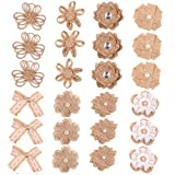 PETSOLA 24x Vintage Bowknot Sackleinen DIY Zubehör für Rustikale Hochzeits Dekoration - 97 g