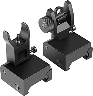 OTW Flip Up Iron Sights Flip Up Front Sight + Back Up Rear Sight Mounts Set for Gun Rifle Handgun Airsoft