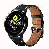 VANCHAN Armbänder Kompatible mit Galaxy Watch Active Armband/Active2/Watch 3 41mm, 20mm Schnellverschluss Lederarmband Uhrenarmband für Galaxy Watch Active/Active 2/Watch 3 41mm(Schwarz)