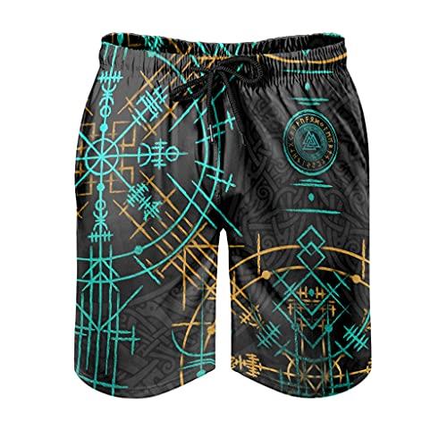 kikomia Pantalones cortos de playa vikingos Vegvisir con runas escandinavas, estampado Fathurk, cómodos trajes de baño con bolsillos y forro de malla, Hombre, Blanco, 5XL