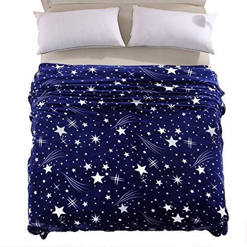 "Bed Fleece Throw /& Blanket in Grey Super Soft /"" Stars /"" Sofa Red or Navy"