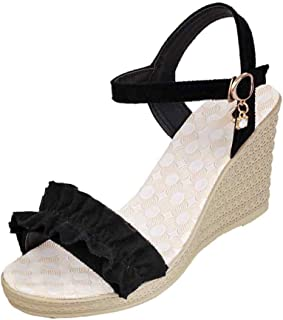 Inlefen Women's Fashion Matching Muffin with Strap with Ruffled Open Toe Sandals