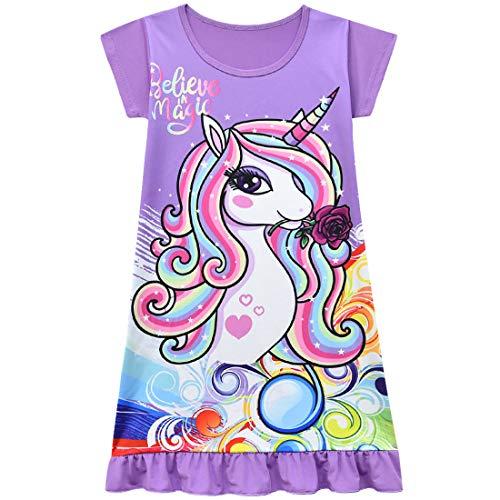 Thombase Mädchen Nachthemd Einhorn Regenbogen Fee Kurzarm Nachthemd für Kinder Geschenk Gr. 2-3 Jahre, violett