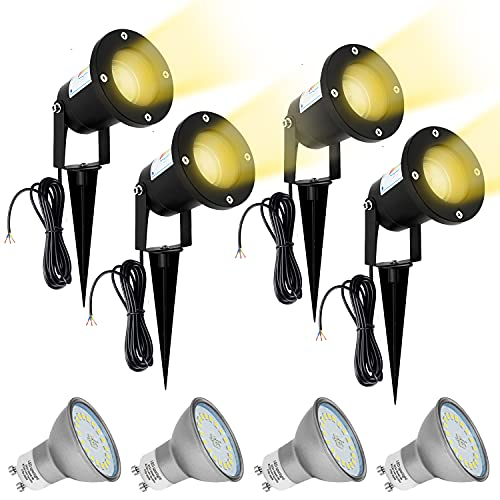 4x LED GU10 Gartenstrahler Set IP65 Wasserdicht Schwenkbar Gartenleuchte Landschaft 230V Rasen Licht mit Erdspieß inkl. 5W Warmweiß LED Glühbirne