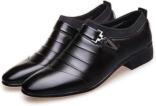 Sandalias Hombre Cuero, Hauszapatos de cuero OX Slipper On Style Sandalias con punta cerrada de costura exquisita hueca para hombres ,Sandalias Ligeras TransPiñables ( Color   negro , Tamaño   43 EU )