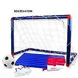 Queta - Porta con rete da calcio, per bambini, 60 cm, con pompa a sfera, pallone incluso, per interni ed esterni