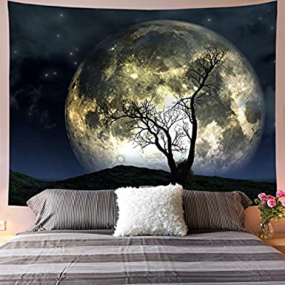 Galoker Moon Tapestry Galaxy Tapestry Tree Tapestry Starry Sky Tapestry Mystic Psychedelic Art Tapestry Wall Hanging for Home Decor(H51.2×W59.1 inches)