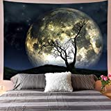 Galoker Moon Tapestry Galaxy Tapestry Tree Tapestry Starry Sky Tapestry Mystic Psychedelic Art Tapestry Wall Hanging for Home Decor(H59.1×W78.7 inches)