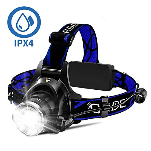 Headlamp, Super Bright LED Headlamps 18650 USB Rechargeable IPX4 Waterproof Flashlight with Zoomable Work Light, Hard Hat Light for Camping, Hiking, Outdoors