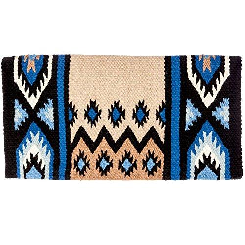 Mayatex New Phoenix Saddle Blanket, Black/Sand/Periwinkle/Fawn/Cream, 38 x 34-Inch