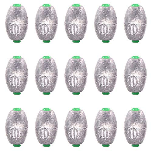 Keadic 15 Pieces 10g Fishing Weights Sinkers,Olive Bass Casting Hollow Egg Bullet Weights with Removable Core for Freshwater/Saltwater Fishing Gear