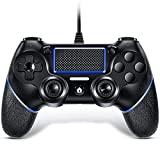 VOYEE Wired Controller Compatible with PS-4 Controller, with Double Shock/Upgraded Joystick Compatible with Playstation 4/Pro/Slim (Black)