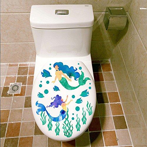 Rainbow Fox 3D Sirène Stickers muraux Dessin animé Mignonne tolilet Couverture Autocollants (Sirène)