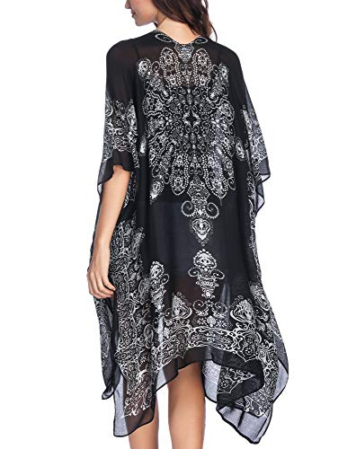 Moss Rose Women's Summer Travel Beach Cover up Swimsuit Kimono Cardigan with Bohemian Print