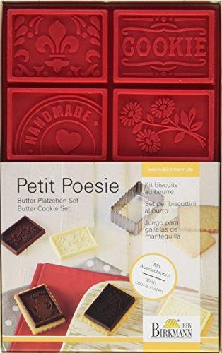 BIRKMANN Petit Poesie - Juego para galletas de mantequilla (1 cortador de galletas hecho de acero inoxidable y 1 lámina de silicona con 6 diferentes motivos decorativos)