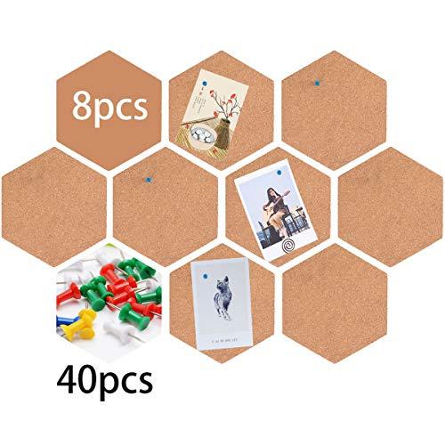 ZITFRI 8 Stück Pinnwand Kork, Sechseckige Korkplatte Selbstklebende DIY Korkwand mit 40 Stück Pinnnadeln, Korkpinnwand Korkfliesen DIY Wanddeko für Notizen, Bilder, Foto, Heimdekoration Büro
