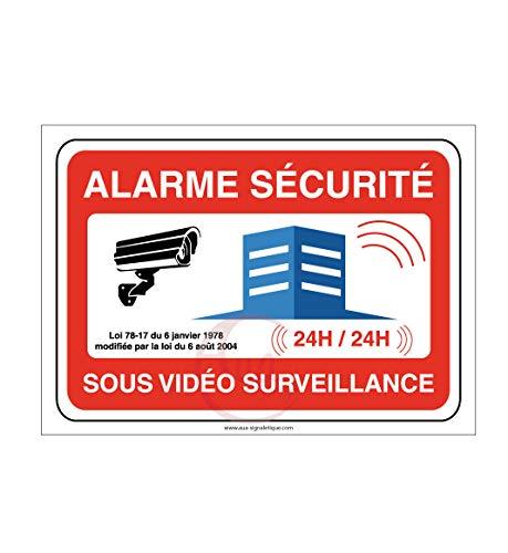 AUA SIGNALETIQUE - Panneau Alarme sécurité sous vidéo Surveillance 24h/24-300x210 mm, PVC 1.5 mm
