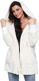 Mremtry Women Fleece Hooded Open Front Long Sleeve Fuzzy Sherpa Loose Warm Winter Two Pockets Coat Jacket Outwear