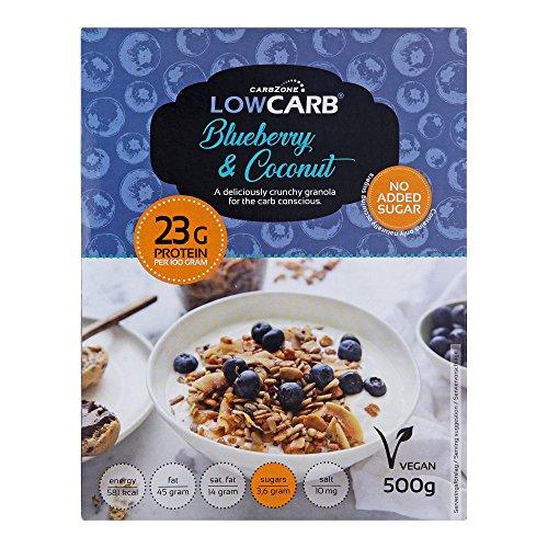 Muesli low carb di CarbZone | Muesli di cereali al cocco e mirtillo | Snack senza glutine e bio - 500 g