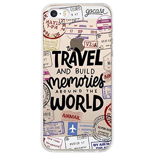 Gocase Travel & Build Memories | Cover per iPhone 5 / 5S / SE | Trasparente con Stampa | Custodia Protettiva in Silicone | TPU AntiGraffio | Mappamondo Passaporto Viaggi Voli Avventure