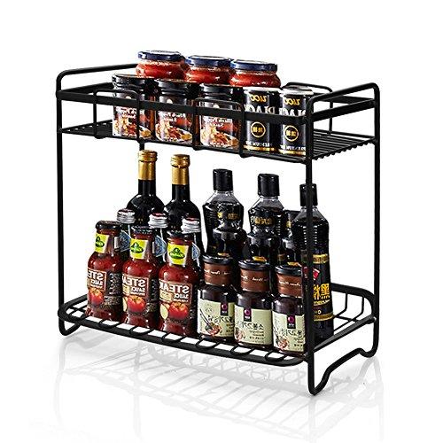 DesignSter 2 Etagen Stehend Gewürzregal küche gefüllt, Eisen Abnehmbare Dosen Regal Halter für Home Küche Badezimmer Arbeitsplatte Lagerung
