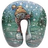 Marlon Kitty Muñeco de Nieve Que se congela Fuera de la Almohada en Forma de U Cuello Almohada de Viaje Espuma de Memoria para Adultos Viaje