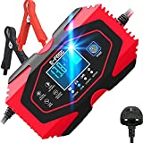 Car Battery Charger, 12V/6A 24V/3A Fully Intelligent Pulse Repair Lead Acid Lithium Battery Charger & Maintainer - UK Plug, Red
