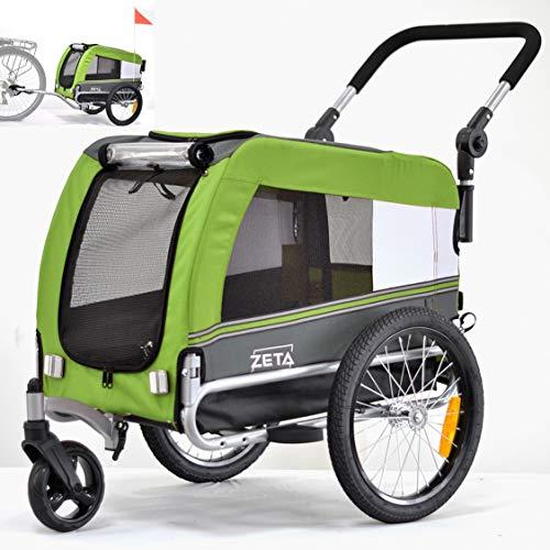 Papilioshop Zeta Fahrradanhänger Transportwagen für Hunde und Tiere (Grün S)