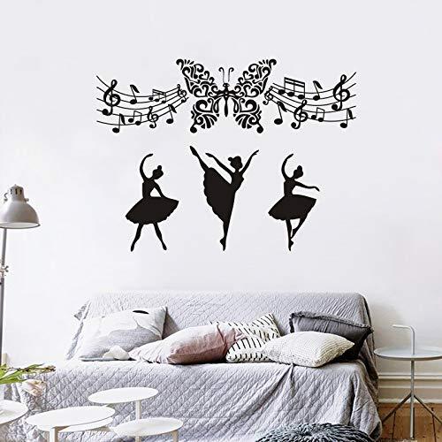 Muziek Muurstickers Verwijderbare Vlinder Art Vinyl Muursticker Muziek Note Home Art Mural Ballerina Ballet Dance Meisjes Decor 57x77cm