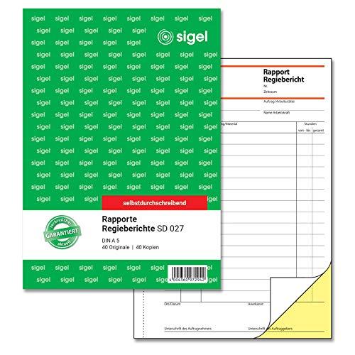 SIGEL SD027 Rapport / Regiebericht A5, 2x40 Blatt, selbstdurchschreibend, 1 Stück