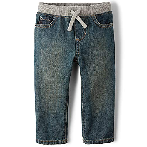 The Children's Place Boys' Baby and Toddler Pull On Straight Jeans, Aged Stone, 12-18 Months