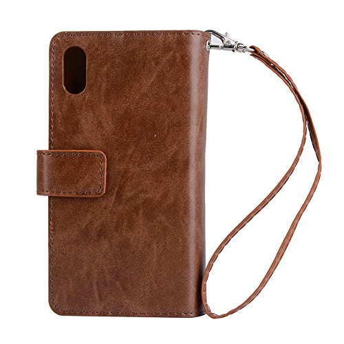 iPhone XS Max Cases for Men,MeiLiio PU Leather Multifunction Zipper Wallet Case with Card Slots&CellPhone Holder for Women,Magnetic Sleeve with Wrist Strap Stand Cover for 6.5'' iPhone XS Max,Brown