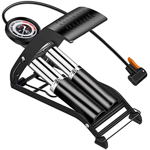 WYJW Bomba de pie de Doble Cilindro, Bomba de Piso portátil para Bicicleta con manómetro de presión preciso y válvulas Inteligentes, para Motocicleta, Bicicleta eléctrica, inflador, bom