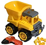 Kids Build Play & Take Apart Dump Truck Toy, Electric Drill Tool Set for Construction, Boys Girls & Toddlers, Birthday Gift, 4 5 6 Year Old - Improve Fine Motor Skills, Critical Thinking & Homeschool
