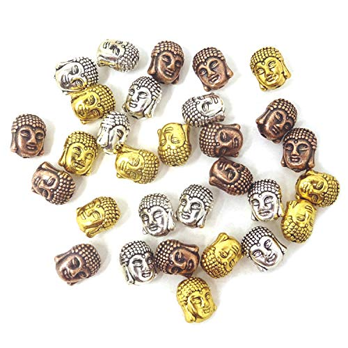 Honbay 30PCS Double Sided Buddha Head Small Spiritual Metal Beads for DIY Crafts or Jewelry Making (Mixed)