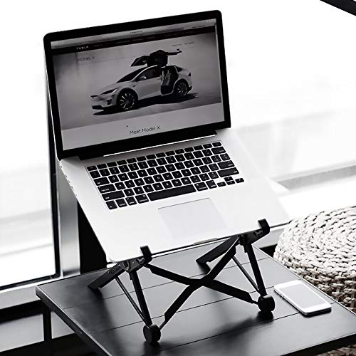 DJG Laptop Stand, Nylon Laptop Holder Riser Computer Tablet Stand with Slide-Proof Silicone Portable Foldable Laptop Riser with Heat-Vent