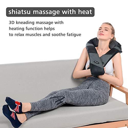 Massaggiatore Cervicale Collo Spalle e Schiena Cuscino Massaggiante Shiatsu e Profondo Massaggio con Tre Intensità Regolabili per Uso Domestico e in Ufficio