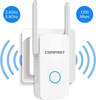 WiFi Range Extender Signal Booster 2.4GHz and 5GHz Dual Band Amplifier Fast Speed AC1200M Wi-Fi Repeater